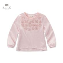 Бесплатная доставка DK0491 дэйв белла осень новорожденных девочек розовый цветок аппликации футболка девушки розовый топы хлопок тройник