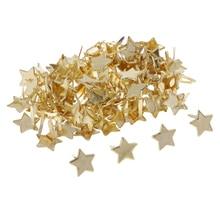 100pcs Gold Metal 14mm Star Head Split Pin Mini Brads Scrapbook Decoration