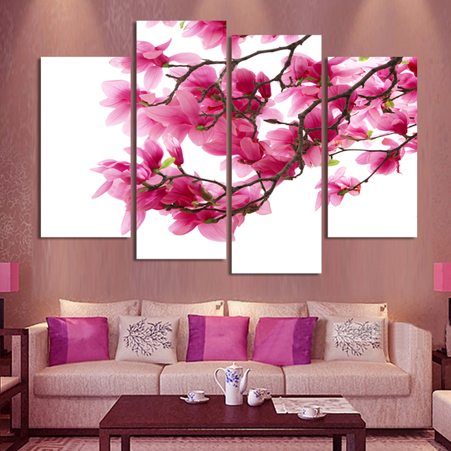 4 Panels HD Flowers Canvas Painting Wall Pictures For Living Room ...