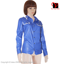 Sexy Blue military Latex Shirt Rubber Polo Long Sleeves Jacket Gummi Coat Uniform Top blouse pocket flap Dress XXXL plus size