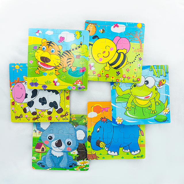 baby cartoon animal wooden jigsaw puzzles board children kids toys educational early learning