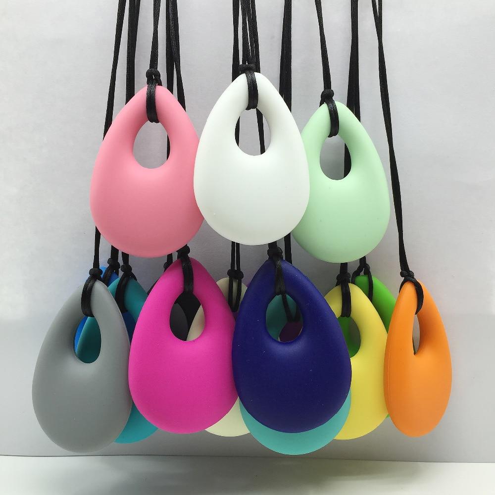 5pcs / lot 눈물 방울 실리콘 젖니 펜던트 및 간호 목걸이-씹을 수있는, BPA 프리, 식품 등급 실리콘 펜던트