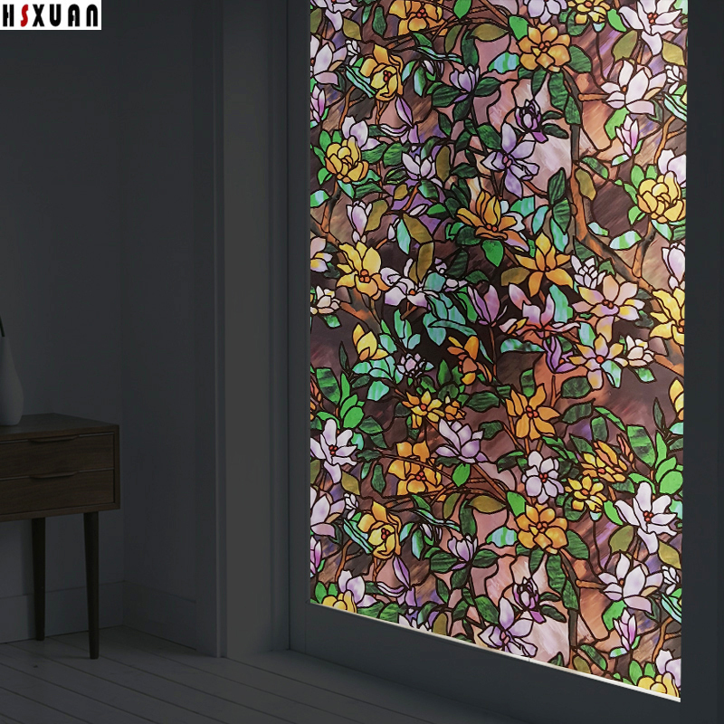 Removable Tint Window Privacy Films 70X100cm Pvc Magnolia 3d Frosted Glass  Door Decor Static Window Stickers Hsxuan Brand 703102