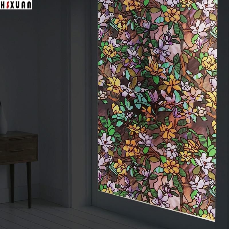 Removable Tint Window Privacy Films 70x100cm Pvc Magnolia 3d
