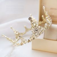 Gorgeous Sparkling Golden Plated Crystal Big Wedding Crown Headband Bridal Tiara Party Show Pageant Hair Accessories