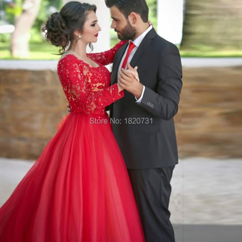 Robe de bal rouge grande taille robes de bal manches 2019 col carré dentelle robes de soirée élégantes formelle femmes robe de soirée pour mariage - 3