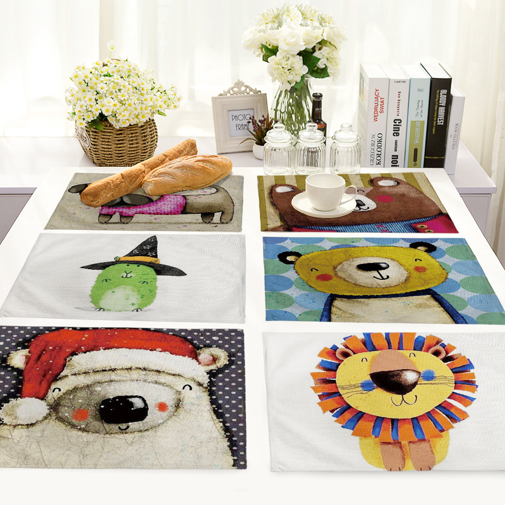 Cartoon Bear painting series Table Mat Animal Table Napkin Placemat Kitchen Decoration Dining Accessories 42x32cm MC0036