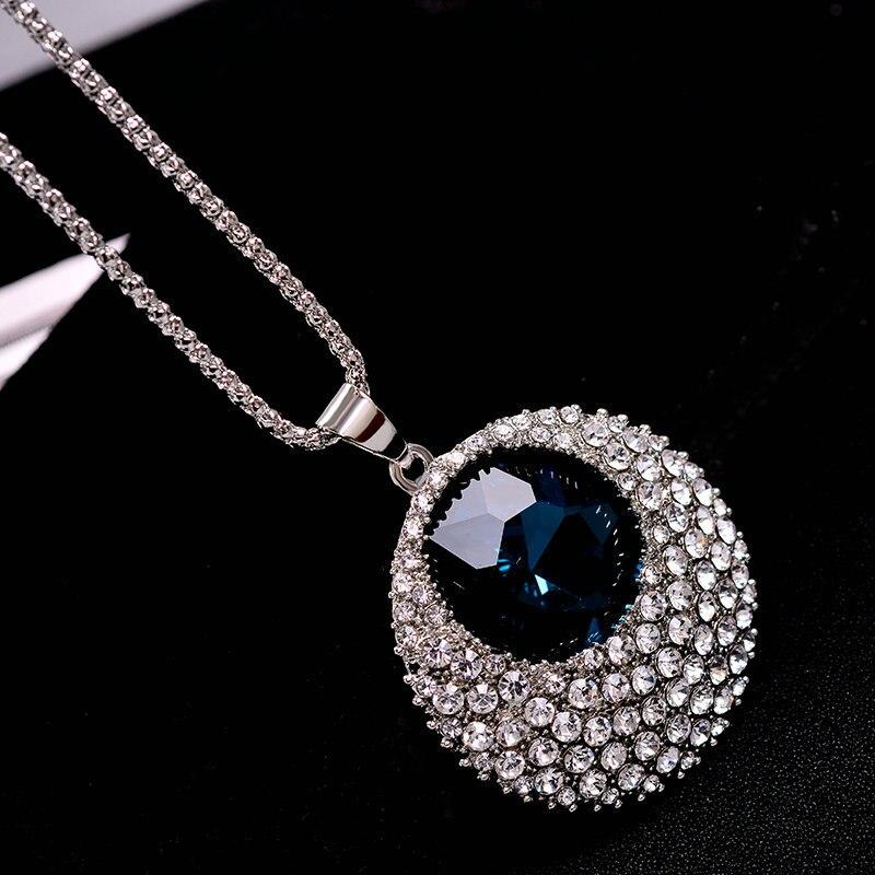 Vintage Blue Crystal Duga Ogrlica Žene Bijoux Modni Nakit Ogrlice & - Modni nakit - Foto 2