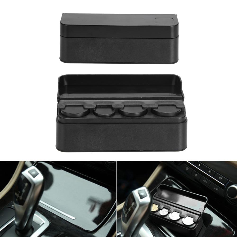 Black Plastics Car Coin Organizer Case Caja de almacenamiento de - Accesorios de interior de coche - foto 2