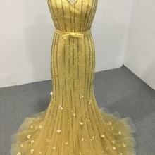 082032ab23f CloverBridal best quality V neck and back trumpet yellow pearls tube  beading sequins glitter prom dresses