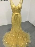 CloverBridal beste kwaliteit v-hals en back trompet geel parels buis kralen pailletten glitter prom jurken 2017 luxe voor vrouwen