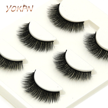 YOKPN Makeup 3D Mink False Eyelashes Natural Crisscross Messy Thick Lifelike Soft Winged Fake Eyelashes Fashion Handmade Lashes