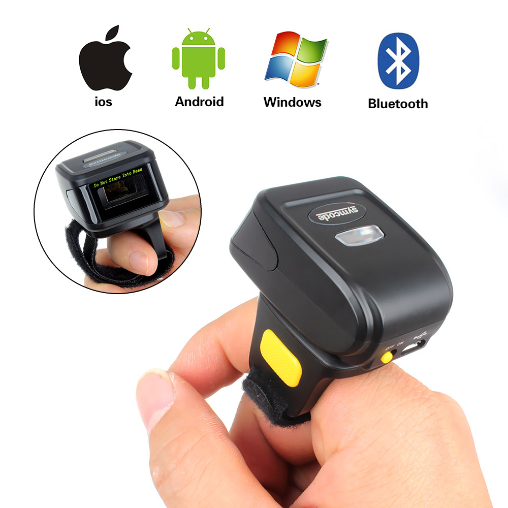 Portable Wearable Ring Barcode Scanner 1D Reader Mini Bluetooth Scanner small wireless ring barcodescanner laser weirless scanner wearable ring bar code scanner mini bluetooth scanner barcode reader 1d reader scan for phone pc tablet