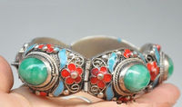 China's Tibet dynasty palace cloisonne silver inlaid bracelet