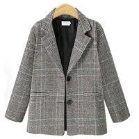 5xl Blazer Women Plus Size Jacket Women Plaid Long Sleeve Single Breasted Office Coat Casual Outerwear Winter Jackets Gray Khaki