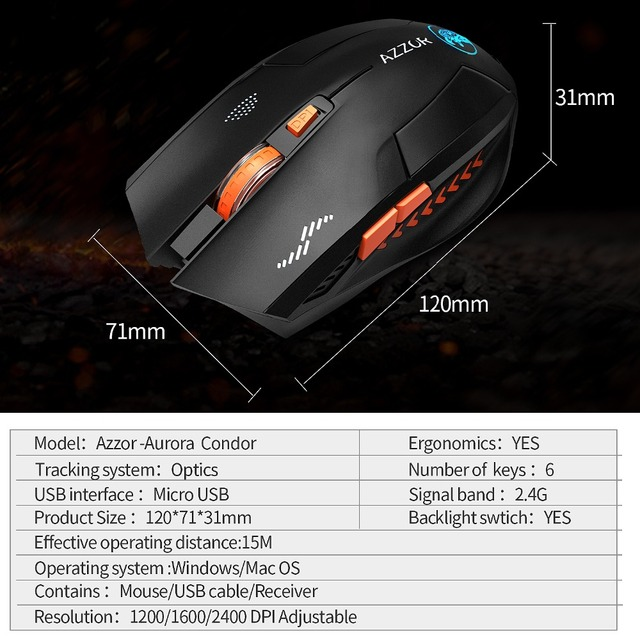 Wireless Mouse Optical Mouse Gaming Silent usb rechargeable Mice 2400dpi Built-in Battery For PC Laptop Computer Noiseless