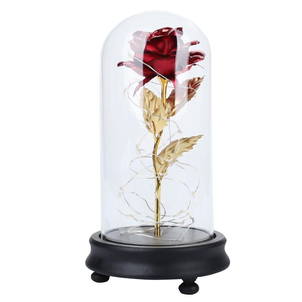 Светодиодный, Золотая Роза в стеклянном куполе, Красавица и чудовище, красная роза, декоративные цветы, венки на День святого Валентина, подарок, подарки на день матери - Цвет: Red