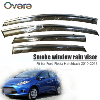 Overe 4Pcs/1Set Smoke Window Rain Visor For Ford Fiesta Hatchback 2010-2015 2016 2017 2018 Awnings Shelters Accessories
