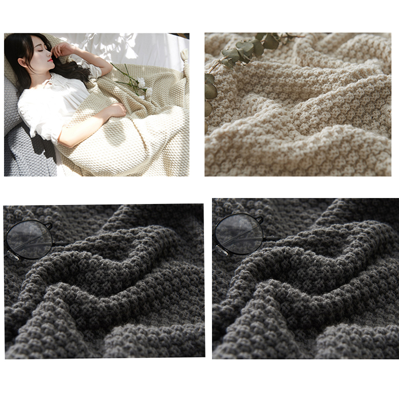 Solid Thread throw blanket Wool Weave tassel Shawl Blanket home office sofa Bed Bedspreads nap sleeping Weighted Blanket 130 170 in Blankets from Home Garden