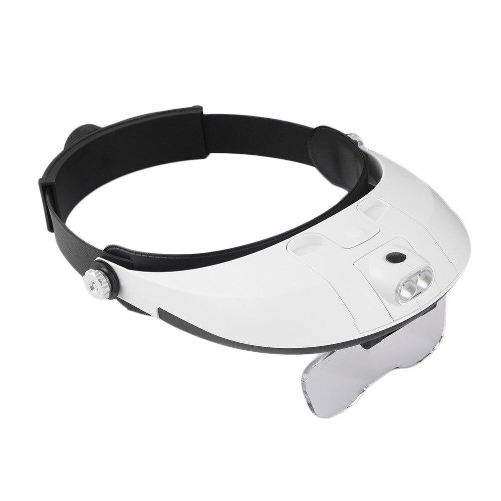 Venda quente 2 LED Iluminado Lupa Lupa Óculos Headband do Single Bi-placa  11 Ampliações 5 lente 2315dc430e