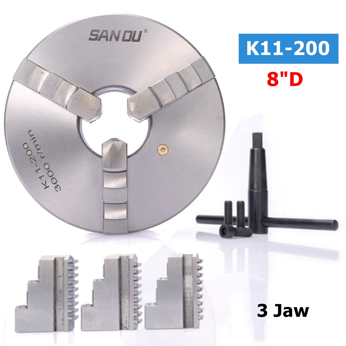 SANOU K11-200 3 Jaw Self Centering Lathe Chuck Hardened Steel 8 Inch Jaw Chuck for Drilling Milling Machine cnc milling machine part rotational a axis 80mm 3 jaw chuck