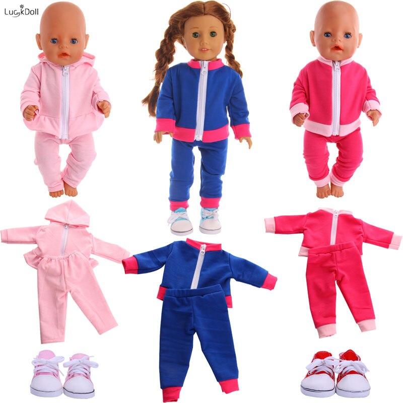4 cores bonito roupas esportivas & pijamas ajuste 18 Polegada americano & 43 cm boneca do bebê acessórios, brinquedos da menina, geração, presente de aniversário