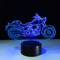 Cool 2016 NEW Motorcycle Action Toy Figure Gift 3D LED Table Lamp Motorcycle Template 7 Color