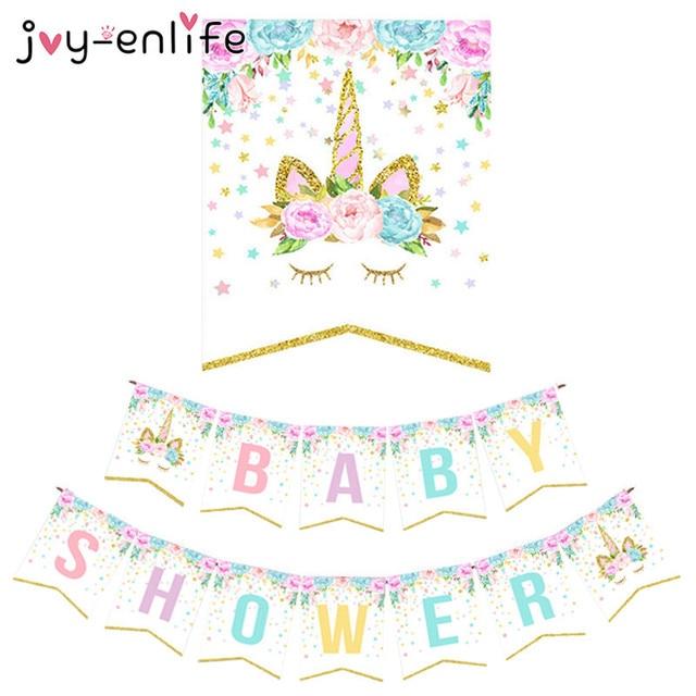 joy enlife cute unicorn baby shower banner kids children birthday