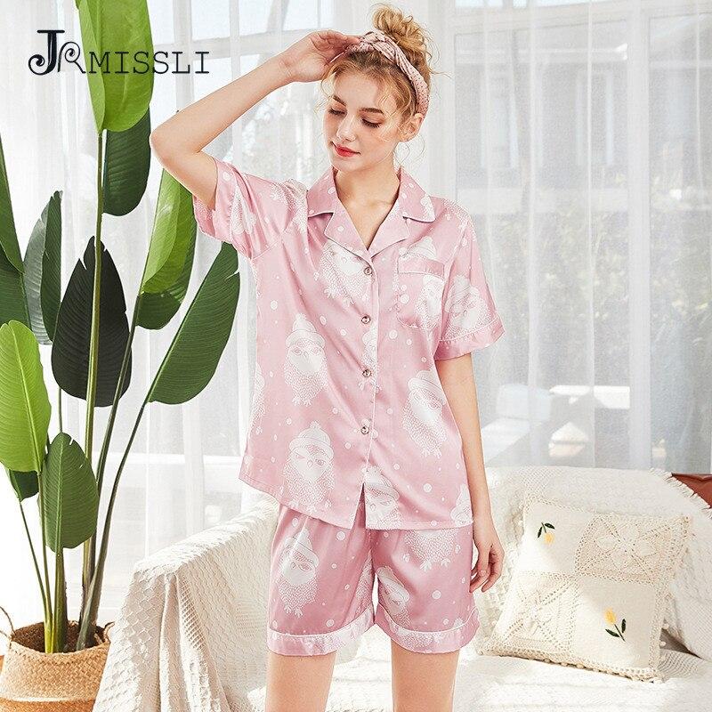 JRMISSLI 2019 новые женские пижамы костюм из двух частей с коротким рукавом ночные рубашки + шорты из искусственного шелка атласные пижамы компле...