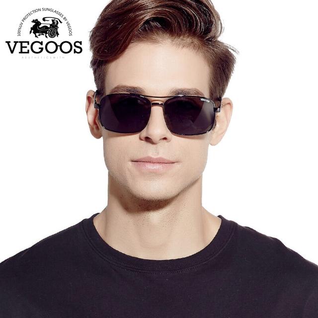 VEGOOS Polarizados Grife Óculos De Sol Dos Homens óculos de sol inteiras retro inoxidável aviação quadro oculos de sol masculino #3073