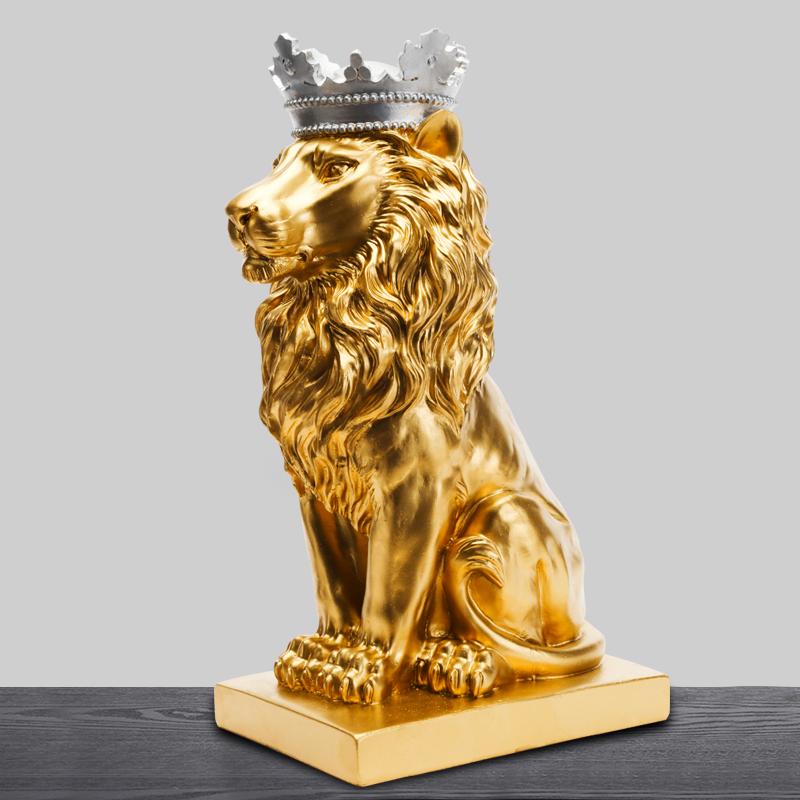 34 cm High Gold Lion Resin Ornaments Home Decoration Accessories Simulated Animal Lion Office Decoration Best