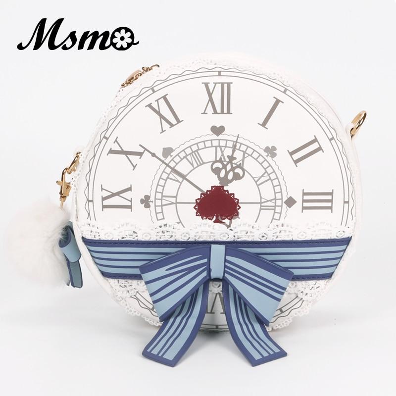 MSMO Alice In Wonderland Victorian Clock Shoulder Bag Lady Lolita Style Vintage School Round Cross Body Bag Messenger Bag