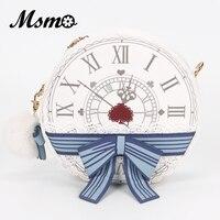 Msmo Alicia en el país de las Maravillas victoriano reloj señora Lolita Estilo Vintage escuela ronda Cruz Cuerpo mensajero