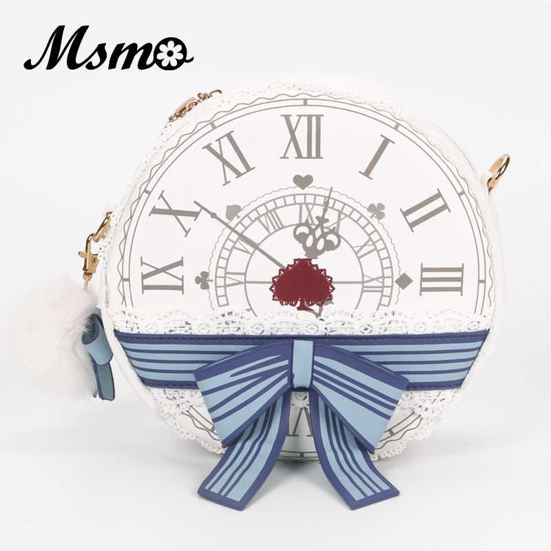 Msmo alice no país das maravilhas relógio vitoriano bolsa de ombro senhora lolita estilo vintage escola redonda cruz saco do corpo mensageiro