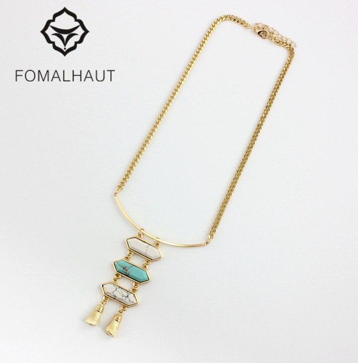 a65aff992a0d Fomalhaut Greenstone mosaico múltiples capas collar largo tira Collares  declaración choker collar mujeres 2016 moda bx-84