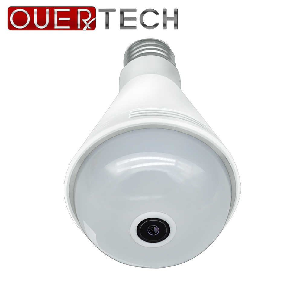 OUERTECH 360 Two way audio white light Bluetooth music bulb Panoramic 960P Full Color Wireless Smart IP Camera  support 128g