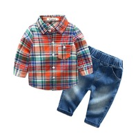 2018 Hot spring and autumn models Korean version of the boy long-sleeved plaid shirt denim trousers children's suits