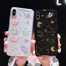 Soft Phone Case For iPhone 8 Plus X XS XR Xs Max 7 Plus Case TPU Glitter Planet Cover For iPhone 6S Plus 6 Plus Glossy Cases strawberry tpu soft case for iphone 7 x xs xr xs max 8 plus cases glossy phone case for iphone 6s plus 6 plus fashion cover