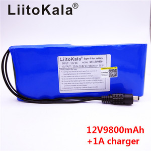 Image 2 - HK LiitoKala 12V 9800mAh 18650 DC 12V 12.6V Super Rechargeable Pack EU/US plug adaptor for CCTV camera video Battery Portable