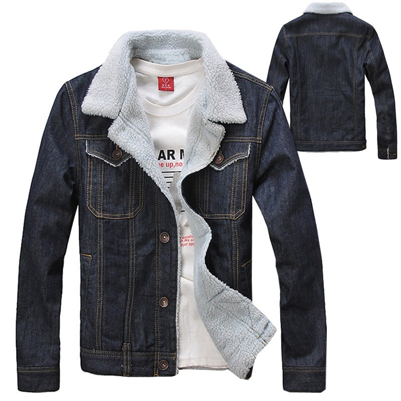 2016 Autumn Winter Fashion Menu0026#39;s Fleece Coats  Men Warm Thick Quilted Denim Jacket Coat  Jean ...