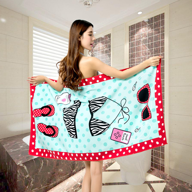 U-miss 70*140cm Absorbent Microfiber Bath Beach Towel Large Household Items Pink Beach Towel Printed Drap De Plage