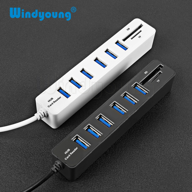 USB Hub Combo 3 / 6 Ports USB 2.0 Hub High Speed Splitter Multi USB Combo 2 In 1 SD/TF Card Reader For PC Laptop Computer