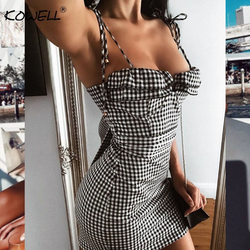 Plaid Print Spaghetti Strap Summer Women Dress Strapless Sleeveless Sashes Mini Bodycon Dress Backless Sexy Dress 2018