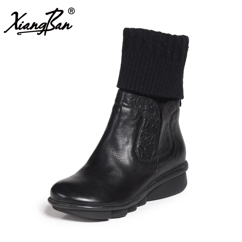 Xiangban genuine leather winter shoes women casual Midium heel wedges comfortable black ladies boots round head black women ankle boots handmade vintage medium heel round head shoes elegant boots xiangban