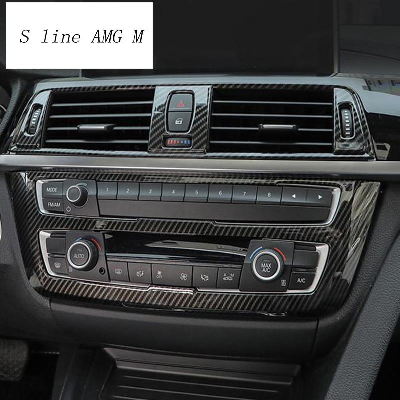 Car Styling Carbon fiber Center Console Air Panel Covers Trim Gears  Stickers frame For BMW 3 Serise F30 3gt F34 Auto Accessories