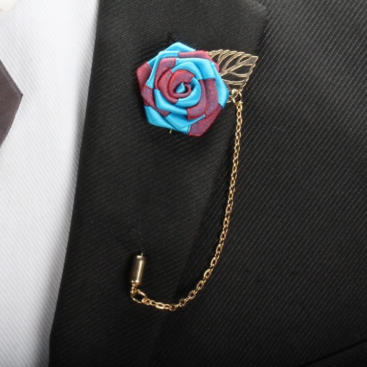 BoYuTe 10Pcs New Design Fabric Flower Rose Lapel Pin with Chainn Men Wedding Rose Brooch Pins (2)