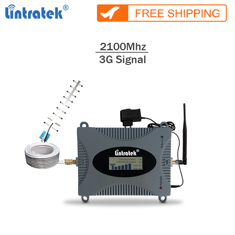 Lintratek New repeater 3g 2100Mhz celular signal booster gsm 3G mobile signal amplifier cellphone repeater full