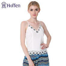 Hoffen 2017 Womens Lace Halter Tops V-neck Lace Patchwork Sexy Summer Tops Fashion Sleeveless Camisole Vest Camis WS112