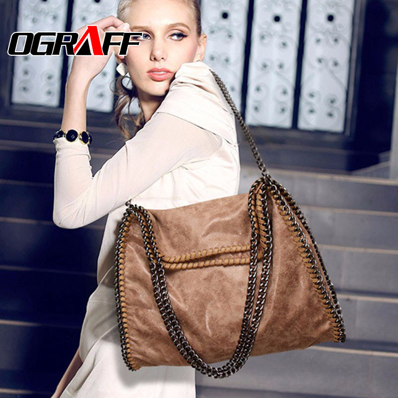 OGRAFF Women bag 2017 Scrub luxury Chain handbag famous designer brand bags women leather handbags women messenger bags vintage