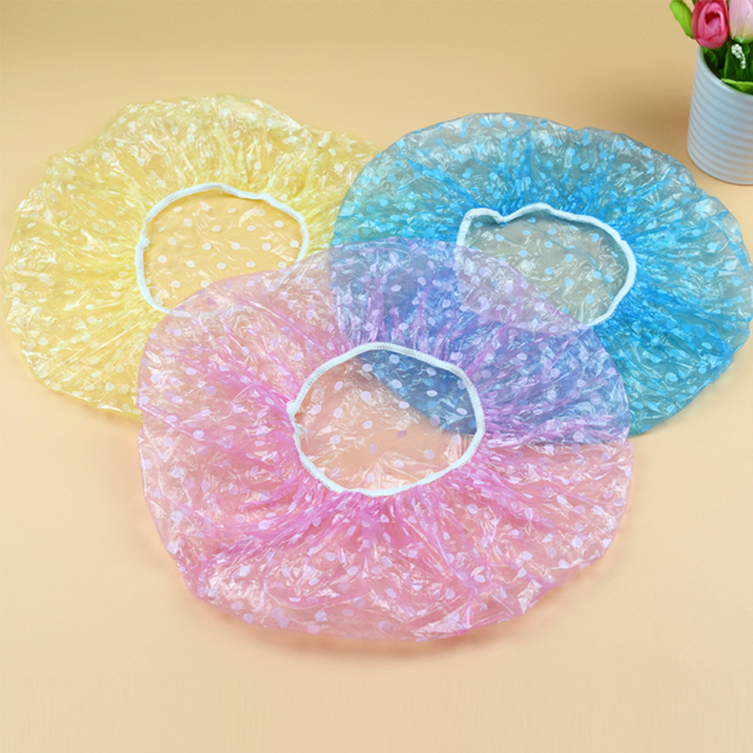 Salon Hair Production 3pcs Disposable Plastic Wave Point Elastic Waterproof Shower Cap Bathing Spa Thicken Dot Hat Hotel Supply